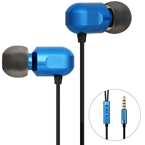 Earbuds, GGMM Wired Earphones Noise Isolating Headphones Earbuds with Microphone Heavy Deep Bass Earphones Ear Buds, in Ear Headphones Fits All 3.5mm Interface Device C700-Blue