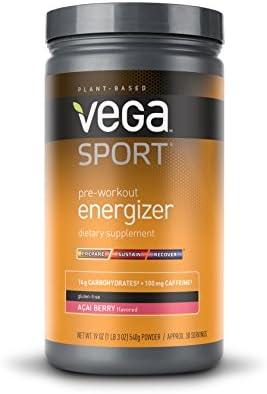 Vega Sport Pre-Workout Energizer Acai Berry (19oz, 30 Servings) - Vegan, Gluten Free, All Natural, Pre Workout Powder, Non GMO
