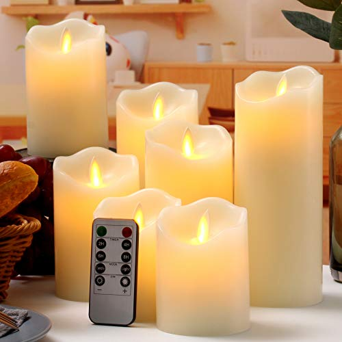 "Flameless Candles Flickering LED Candles Set of 7 (D:3"" X H:4"" 4"" 5"" 5"" 6"" 7"" 8"") Ivory Real Wax Pillar Battery Operated Candles with Dancing LED Flame &10-Key Remote and Cycling 24 Hours Timer"