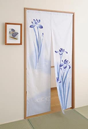 Beautiful Japan Cotton Pongee Long Type Noren Curtain Tapestry Japanese Iris Design  By Totas