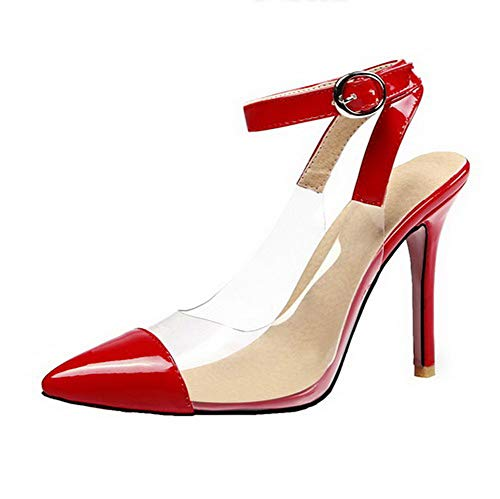 Heels Buckle Solid Patent Women CCALP015491 Leather VogueZone009 Toe Closed Sandals Red High qnx4604I8w
