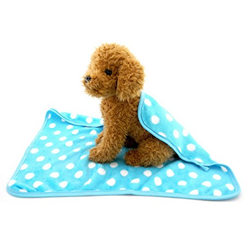 SELMAI Fleece Cat Throw Blanket Polka Dot Small Puppy Blankets Sky Blue