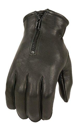 Milwaukee Leather Men's Deer Skin Winter Gloves with Zipper (Black, XX-Large)