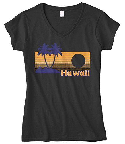 Cybertela Womens Hawaii Hawaiian Hi Sunset Beach Palm Tree Fitted V Neck T Shirt  Black  Large