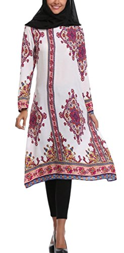 SportsX Women's Folk Style Vintage Long-Sleeve Wedding Long Dresses White S