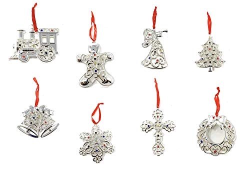 (Lenox Sparkle And Scroll Holiday / Christmas Ornaments [Silver-Plated] (set-8))