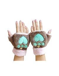 Gloves Fingerless Mittens Furry Bear Paw Winter Skiing Gloves for Women Girls (Dark Khaki)