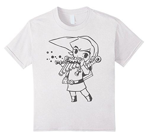 Girl Flute - Kids Nintendo Zelda Young Link & Flute Cartoon Line Art T-Shirt 6 White