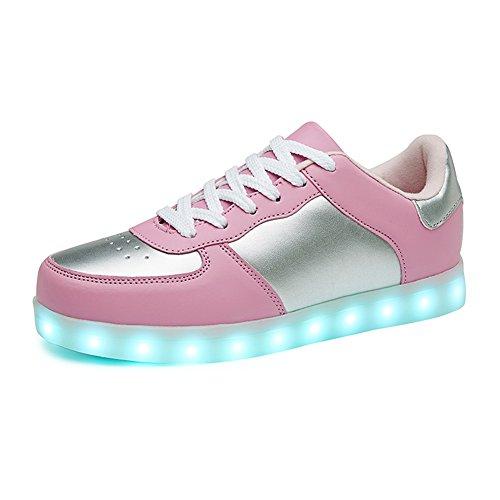 SANYES USB Lade leuchten Schuhe Sport LED Schuhe tanzen Turnschuhe Rosa