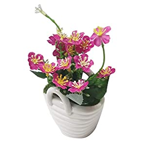 Fityle Pack of 1 Simulation Artificial Flowers with Ceramic Pot Vase Lifelike Real Touch Arrangement Flower Bonsai Home Table Decoration (Pink Purple) 49