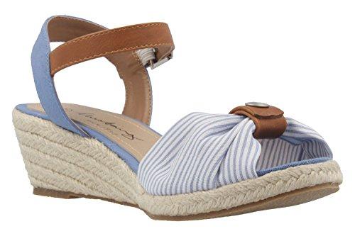 b8f63b2d2207 ... Mustang Damen Keil-Sandaletten - Hellblau Schuhe in Übergrößen ...