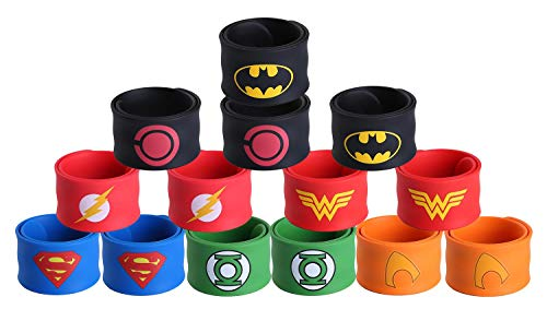 Justice League Superhero Slap Bracelet for Kids Boys & Girls Birthday Party Supplies Favors (14 Pack Assorted Superheros) ()