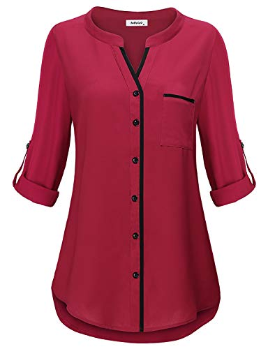 hing,Ladies Halloween Christmas Clothes Beautiful Designer Blouses Stylish 3/4 Roll Sleeve Tops Button Down Fitness Trapeze Shirts School Vacation Colorblock Loft Tunics Red L ()