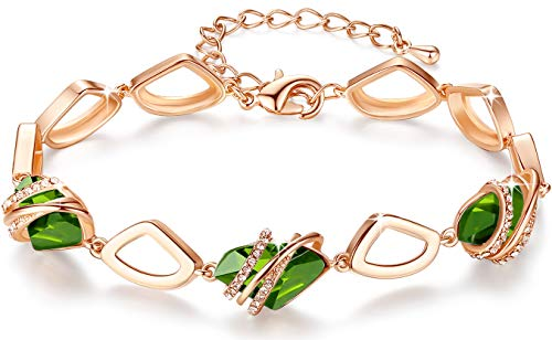 Leafael [Presented by Miss New York] Wish Stone Bracelet Made with Swarovski Crystals Peridot Green August Birthstone Jewelry, 18K Rose Gold Plated, 7