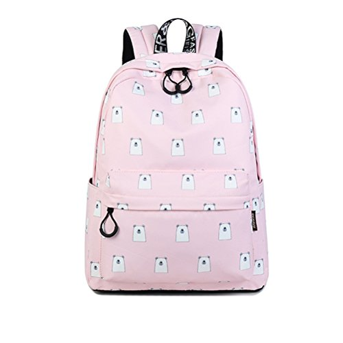 Winnerbag Tissu imperméable Sac à dos mignon femmes filles Impression Motif Ours quotidien de grande capacité Sac à dos pour ordinateur portable 14 pouces vert Pink
