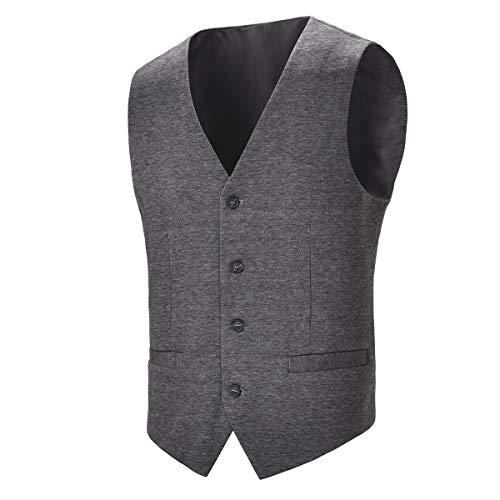 BOTVELA Mens Casual Dress Vest 4 Button Waistcoat