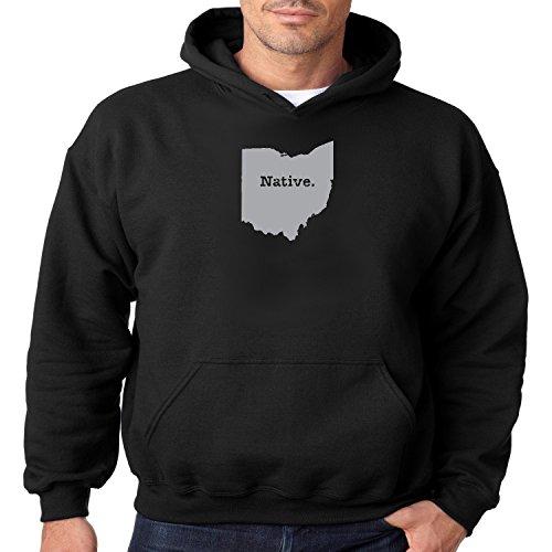Ohio State Map Hoodie Native OH Mens Hooded Sweatshirt S-3XL (Black, S)