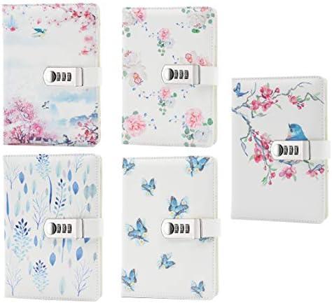 Lirener PU Lederbuch A5 Tagebuch Notizbuch Notebook Skizzenbuch Journal Planer Organizer, Geheimnis ausgekleidet Password Tagebuch Sketch mit Zahlenschloss Stifthalter, 150x215mm
