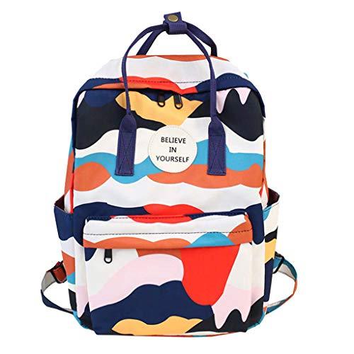 Goddessvan Women Fashion Bag Large Capacity Computer Bag Student Backpack Multicolor Animal Prints Shoulder Bag Blue