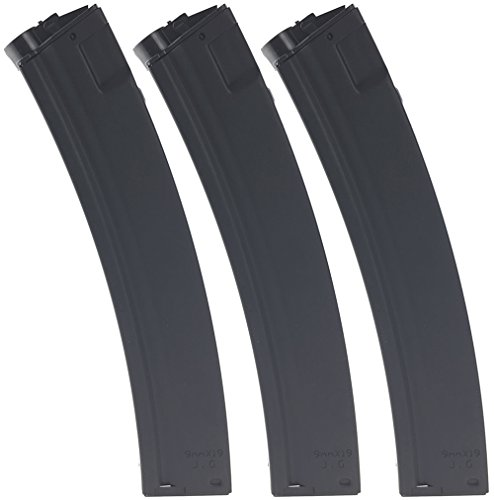 SportPro Jing Gong 220 Round Metal High Capacity Magazine for AEG MP5 3 Pack Airsoft - Black