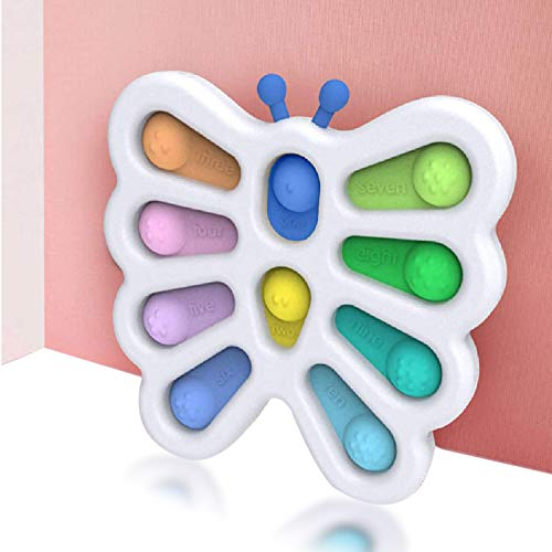 SIMEEGO Butterfly Fidget Dimple Push Toys, Push POP Bubble Simple Silicone Interesty Sensory Toy Children Early Educational Toy Decompression Keychain Toy Handheld Mini Fidget Toy for Kids Adults