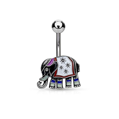 14GA Elephant with Enamel Colored and Antique Plated 316L Surgical Steel Belly Button Ring