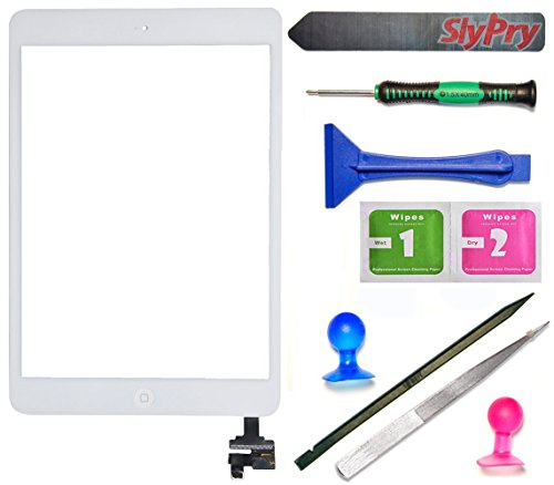Prokit For White iPad Mini Touch Screen Digitizer Complete Assembly with IC Chip & Home Button replacement with SlyPry opening tool kit Ships from CA USA (Ipad 3 Mini Screen Replacement)
