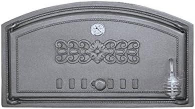 Puerta Del Horno para pizza Horno Puerta Madera del Horno Puerta Horno de piedra para puerta de hierro fundido con termómetro, medidas exteriores: 490x 280mm, öffnungsrichtung: Izquierda