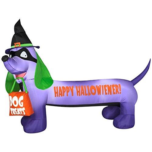 Airblown Inflatable Happy Halloweiner Dachshund Dog 6.5' Halloween Yard Decoration]()