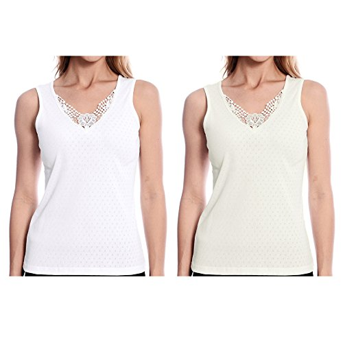 Patricia Lingerie Women's Basic Guipure Applique Tank Top White Ivory 2 Pack Large