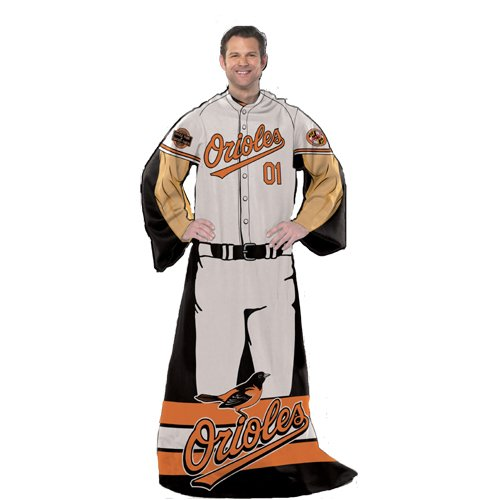 BSS - Baltimore Orioles MLB Adult Uniform Comfy Throw Blanket w/ Sleeves