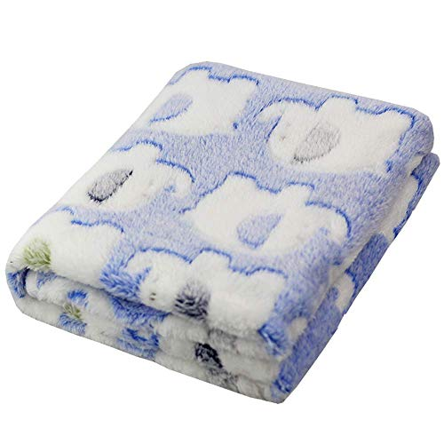 ANIAC Pet Soft Throw Blanket with Cute Elephant Pattern Fluffy and Warm Bed Covers for Dogs and Cats (31.5 Inch23.6 Inch, Blue)