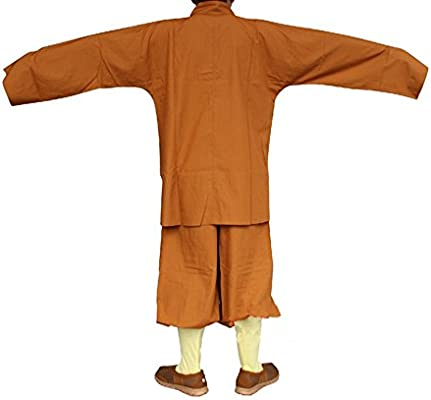 ZooBoo Men's Traditional Shaolin Kung Fu Robe Meditation Long Gown Suit