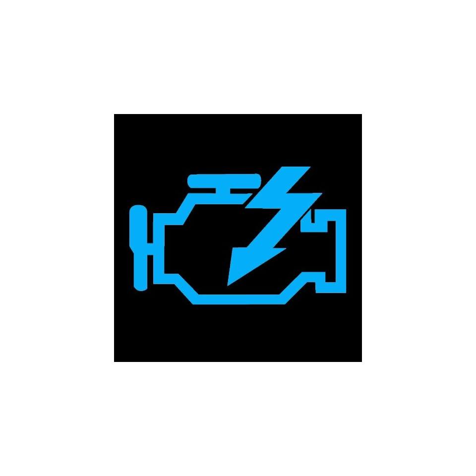 CHECK ENGINE LIGHT   5 LIGHT BLUE   Vinyl Decal Sticker   NOTEBOOK, LAPTOP, WALL, WINDOW, CAR, TRUCK, MOTORCYCLE, ETC.