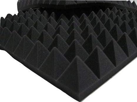 Paneles de aislamiento acústico con pirámides para estudio de audio, de espuma acústica, 49 x 49 x 6 cm, gris oscuro: Amazon.es: Hogar