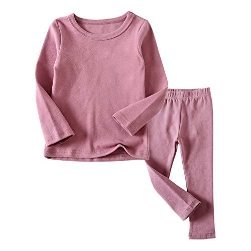 Kid Girls Long Johns Thermal Underwear Set 2PC Crewneck Tops and Bottom Toddler Pajamas Warm Jammies,(Pink,5T)
