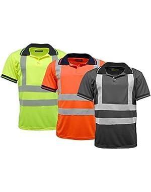 Men's Polo Shirts Hi Vis High Viz Visibility Short Sleeve Safety Work-wear Shirt