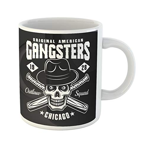 (Semtomn Funny Coffee Mug Gangster Skull in Fedora Hat and Two Crossed Baseball Bats 11 Oz Ceramic Coffee Mugs Tea Cup Best Gift Or Souvenir)