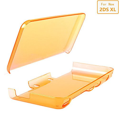 - ADVcer New 2DS XL Cover Case, Anti-Scratch Crystal Clear Hard Shell Skin for New Nintendo 2DS XL LL 2017 Protection (Orange)