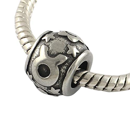 - NBEADS 10 pcs Constellation/Zodiac Signs Taurus Large Hole Beads Vintage Rondelle 316 Stainless Steel European Beads 11x8.5mm, Hole: 5mm