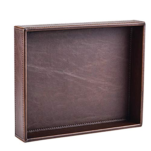 Decor Trends Brown 10.2''x8.3'' Rectangle Vintage Leather Decorative Bedroom Office Desktop Storage Catchall Valet Tray,Nightstand Dresser Key Tray for All ()