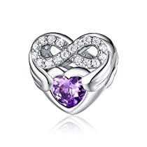 Infinite Love Heart Charm, CZ 925 Sterling Silver Purple Heart Forever LoveInfinity Bead Fit for Pandora Bracelet, Birthday Anniversary Jewelry Gift for Her Mom Grandma and Girls FQ0061
