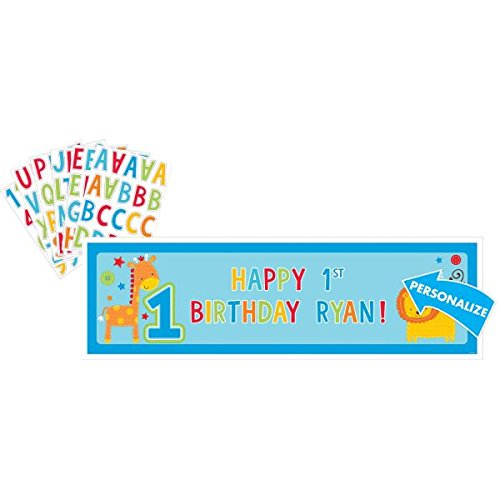 Amscan One Wild Boy 1st Birthday Personalized Giant Sign Banner, 65'' x 20'', Blue