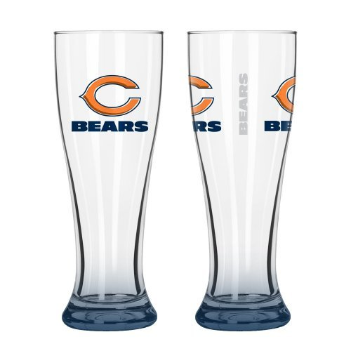 NFL Football Elite Series Pilsner Glasses – 16 ounce Hourglass Pints, Set of 2 (Bears)