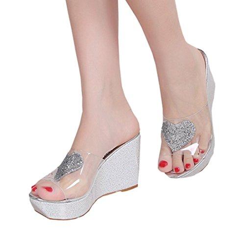 Sandalias para Mujer, RETUROM Pendientes de las nuevas mujeres de Desigh de los Rhinestones con las sandalias de los fracasos de tirón Plata