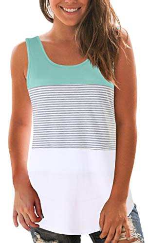 SMALNNIE Women Loose fit Tank Top Striped Round Neck Sleeveless T Shirt Lake Green XL