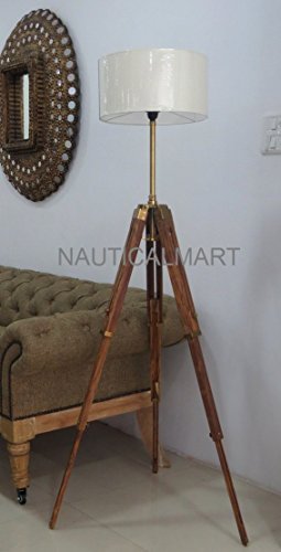 56'' OAK WOOD THREE FOLD WOODEN TRIPOD FLOOR LAMP FOR LIVING ROOM by NAUTICALMART