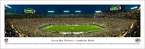 Lambeau Field Framed - Green Bay Packers - 50 Yard - Night - Blakeway Panoramas Unframed NFL Posters
