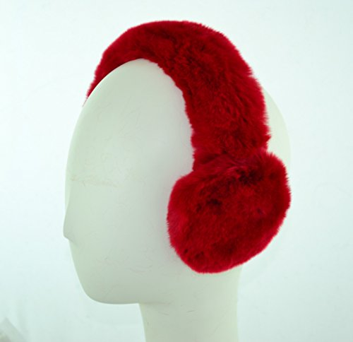 Surell Genuine Red Rex Rabbit Fur Earmuffs with Soft All Fur Non Adjustable Band - Winter Fashion Ear Warmers, Perfect Elegant Women's Luxury Gift by Surell (Image #2)