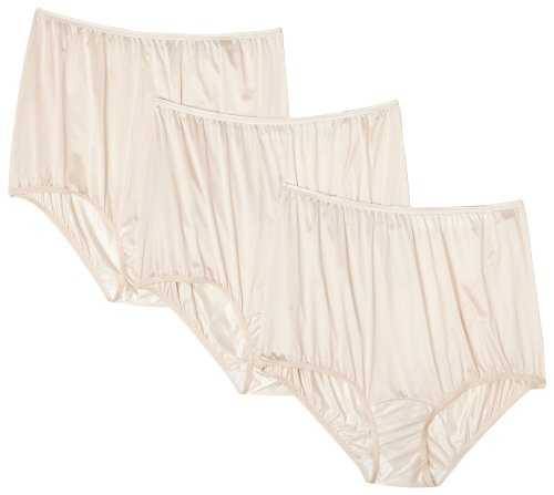 Vanity Fair Women's Perfectly Yours Ravissant Tailored Nylon Brief (Pack of 3),Fawn,2X-Large/9 ()